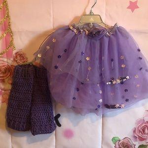 Girls purple tutu and leg warmer one size 5-6